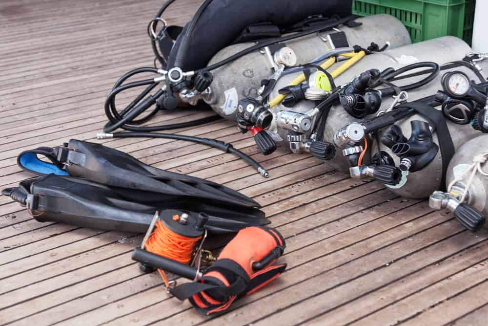 Diving equipment on  the boat